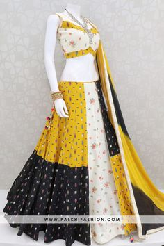 Palkhi fashion presents light mustard/black flap layer navratri chaniya choli with matching silk embroidered work blouse made & shaded pure chiffon dupatta Indian Fashion Dresses, Indian Gowns Dresses, Dress Indian Style, Indian Designer Outfits, Indian Outfits, Salwar Designs, Choli Designs, Lehenga Designs, Designer Kurtis