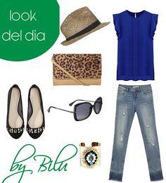 Look del día Chicas. Te propongo una camisa azul marino en honor a #Honduras unos jeans labados de color calaro, con bailarinas negras con cristales, bolso animal print, sobrero para protejerte del sol y gafas de sol negras.  Espero que te guste.  by Bilu.  #modahonduras #moda #modamexico #multiplaza #abriendobrecha #outfits