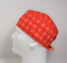 c8b48022f728f Mens Womens Orange Plaid scrub hat
