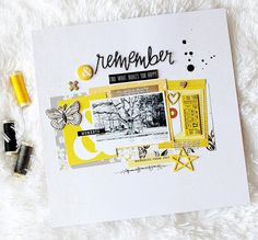 Hello Hipkit fans here today to share a new layout using kits featuring journaling cards and yellow flair by Album Scrapbook, Scrapbook Sketches, Scrapbook Page Layouts, Studio Calico, Hip Kit Club, Candy Cards, Photo Layouts, Scrapbook Embellishments, Layout Design