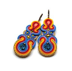 Very bright and joyful dangle earrings in the technique of soutache embroidery made with:  * satin soutache braids  * TOHO seed beads,  * acrylic