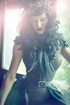 Sharon Needles, feather shoulder piece
