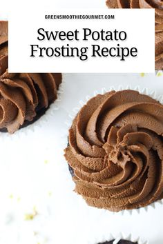 2-ingredient chocolate frosting with sweet potatoes is a healthy, rich sweet potato frosting that is easy to make, high in fiber, vitamin A. Vegan, gluten-free, refined-sugar-free and delicious. No one will ever taste the sweet potatoes. Dairy Free Chocolate, Healthy Chocolate, Melting Chocolate, Hidden Vegetable Recipes, Hidden Vegetables, Sweet Potato Cupcakes, Fudge Pops, Chocolate Frosting, Frosting Recipes