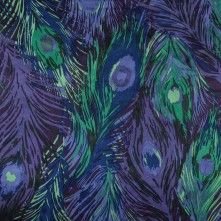 Purple+Reign+and+Green+Briar+Peacock+Feather+Printed+Silk+Charmeuse