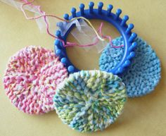 Loom Scrubbies  http://gettinitpegged.files.wordpress.com/2009/07/scrubby-os.pdf