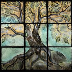 "<<  >>  Live Oak, 14"" x 14"" tiles"