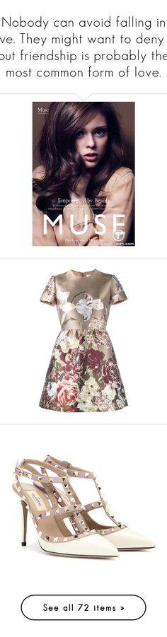 """""""Nobody can avoid falling in love. They might want to deny it, but friendship is probably the most common form of love."""" by oberlinchanel ❤ liked on Polyvore featuring backgrounds, models, coco rocha, photo, dresses, vestidos, brown, metallic jacquard dress, brown dress and circle skirts"""