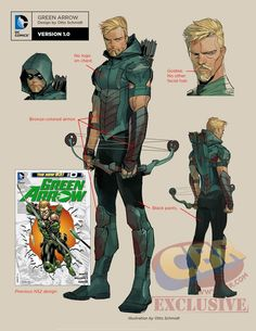 dc rebirth green arrow character design by otto schmidt with annotations