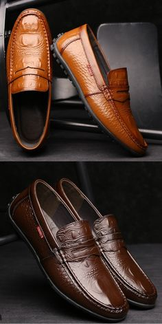 US$39.01 Men Crocodile Pattern Soft Slip On Doug Shoes Casual Leather Driving Loafers