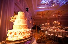 Wedding cake lighting at the Waldorf Astoria in Orlando, Florida. Lighting by keventlighting.com #waldorfastoriaorlando #waldorforlando #waldorfwedding #orlandowedding #ballroomreception #weddingreception #weddinglighting #cakelighting
