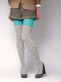 Two-tone rib tights | ayame
