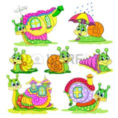 Set of Cartoon funny snails with houses. photo