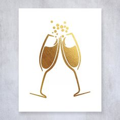 Champagne Toast Gold Foil Art Print Bar Cart Sign Drinks Party Decor Clinking Champagne Flutes 8 inches x 10 inches A15. Digibuddha(TM) real foil art prints are made by hand in our small shop just outside of Philadelphia. • Made with gorgeous luxe gold foil and premium pure white matte card stock. • Prints arrive unmatted, ready to be placed in your favorite frame. • Original design: all Digibuddha(TM) paper goods are exclusively created in-house by our design team. /// Clinking Champagne...