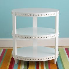 Lacquer Nailhead Accent Side Table: 3 Colors shades of light