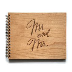 Sustainable Wood MR AND MRS 50-Page Wedding Guest Book Cardtorial
