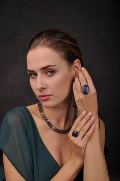 Elegant polished Labradorite Collier and Rings with Sterling silver