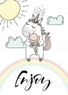 Cute unicorn with ice creams. Unicorn Drawing, Unicorn Art, Cute Unicorn, All Animals Images, Unicornios Wallpaper, Watercolor Pencil Art, Unicorn Illustration, Cute Disney Wallpaper, Magical Creatures