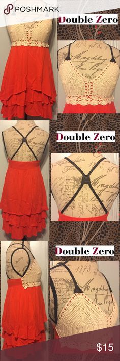 "DOUBLE ZERO Cute Red/Beige Crochet Hi-Lo Dress SIZE M. 30""-32"" Hi-Lo Length. Candy Red Tiered Layer Skirt. Beige Crochet Bust. Umber Brown Braided Leathery Straps Cross-Cross On Back. 100% Cotton. New Without Tags. Double Zero Dresses High Low"