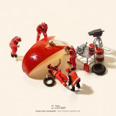 """. 2.28 sun """"Formula car"""" . りんごゴーゴー! . . 【テレビOA情報】 明日2月29日(月)放送の日本テレビ「スッキリ!!」9時30分頃のコーナーでミニチュアカレンダーを紹介いただきます。制作の裏側など取材受けていますので、ご都合のつく方はぜひ! . #Apple #りんご #F1 ーーーーーーー #写真集第2弾予約受付中 #プロフィールのURLから飛べます ."""