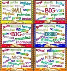 Free Synonyms Posters--UK site, so check that spelling with your kids. Writing Resources, Teaching Writing, Teaching Tools, Teaching English, Teaching Resources, Teaching Ideas, School Resources, Classroom Posters, English