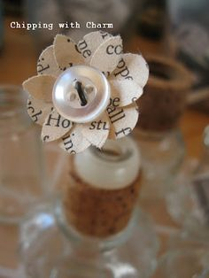 Book pages and button flowers...