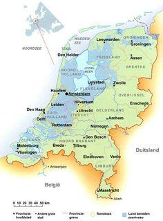 landkaart nederland zeeniveau
