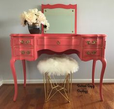 Avail for custom finish. Vintage, curvy, funky, French Provincial pink, Coral and gold Vanity Desk Makeover, Furniture Makeover, Furniture Legs, Paint Furniture, Refurbished Furniture, Vintage Furniture, Refurbished Vanity, Distressed Furniture, Repurposed Furniture