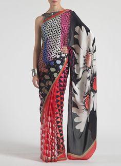 Multicolored Satin Georgette Satya Paul #Saree