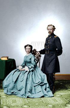 "General George Libbie Custer woman Union 8x10"" Color Tinted Civil War ID-03129"