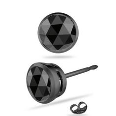 Bezel Setting Black Diamond Studs Mens Earrings Emerald Earings