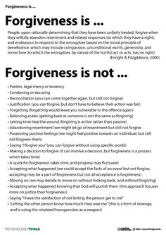 Three adjectives describing forgiveness?