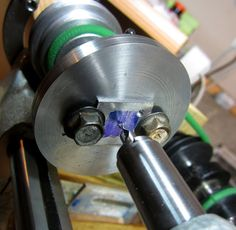 Homemade lathe faceplate fabricated from steel plate. Metal Lathe Tools, Cnc Lathe, Wood Lathe, Wood Turning Lathe, Wood Turning Projects, Metal Projects, Homemade Lathe, Metal Processing, Machinist Tools