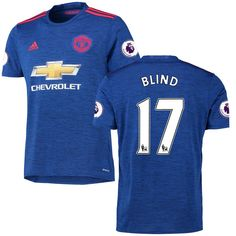 Daley Blind Manchester United adidas 2016/17 Replica Away EPL Badge Jersey - Royal