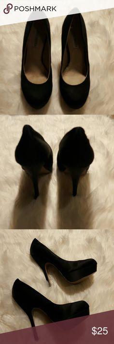 "Heels Steve Madden satin black heels. 5"" heels, 2"" platform. Steve Madden Shoes Heels"