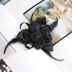 90mm satin rose fabric flower corsage brooch with feathers Black on Etsy, $7.00
