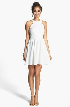 Bailey blue bow back textured skater dress (juniors) nordstrom Social Dresses, Grad Dresses, Homecoming Dresses, Nice Dresses, Party Dresses, White Boho Dress, White Halter Dress, Skater Dress, Short Prom Dresses