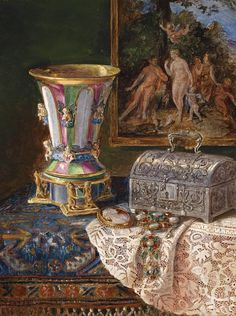 Lea Reinhardt    Still Life with Silver Casket    Late 19th - early 20th century