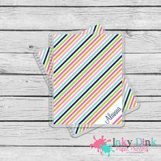 New to InkyDinkPrinting on Etsy: Rainbow Diagnol Stripes Custom Planner Cover Erin Condren Life Planner Happy Planner MAMBI (13.00 USD)