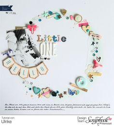 Inspirationsgalerie - Layout Werkstatt - Scrapbook Werkstatt - Layout mit Kreis aus Embelishment von Ulrike Dold