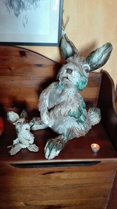 Sculptures in clay stoneware by Sylvain and Tara Bongard, studio in Ferragudo, Algarve. Rabbit Sculpture, Hanukkah, Stoneware, Sculptures, Clay, Ceramics, Studio, Gallery, Home Decor