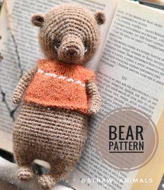 Crochet Toys Patterns, Amigurumi Patterns, Stuffed Toys Patterns, Knitting Patterns, Crochet Bear, Crochet Animals, Handmade, Hacks, Craft