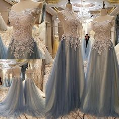 AHS029 New Arrival High Neck Tulle Gray Prom Dresses with Appliques 2017