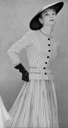 Chic stripes from Pierre  Balmain, 1955. #vintage #1950s #fashion