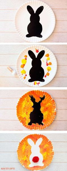 Plate Bunny Craft For Kids - Spring Or Easter Craft Paper plate Easter bunny craft for kids. Easy art project for toddlers, preschoolers, kindergartners and older kids to use as decoration for Easter. Easter Arts And Crafts, Easter Crafts For Toddlers, Spring Crafts For Kids, Arts And Crafts For Kids Toddlers, Rabbit Crafts, Bunny Crafts, Toddler Art Projects, Easy Art Projects, Daycare Crafts
