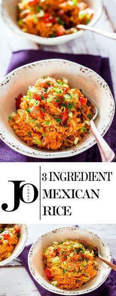 3 Ingredient Mexican Rice - your favorite Mexican restaurant style rice at home with only 3 ingredients. This rice comes together in only 15 minutes and in only pot.