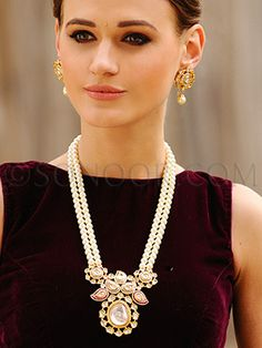 PEN/1/3553 Elaine Reha Pendant Set with Earrings in gold finish studded with cut kundan stones with stringing in fresh water pearls