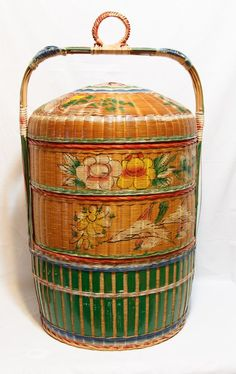 3 Tier Chinese Wedding Basket - Hand Woven - Hand Painted - Beautiful Detail