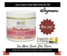 Wegmans Coupon Deal: Aura Cacia Foam Bath Only $0.79 - http://www.couponsforyourfamily.com/wegmans-coupon-dealaura-cacia-foam-bath-only-0-79/
