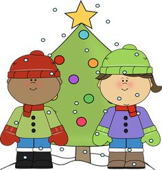 Boy and girl with a Christmas tree.
