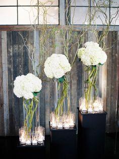 Modern White Hydrangea Wedding Centerpieces/Decor | Sodo Park Wedding | New Creations Weddings